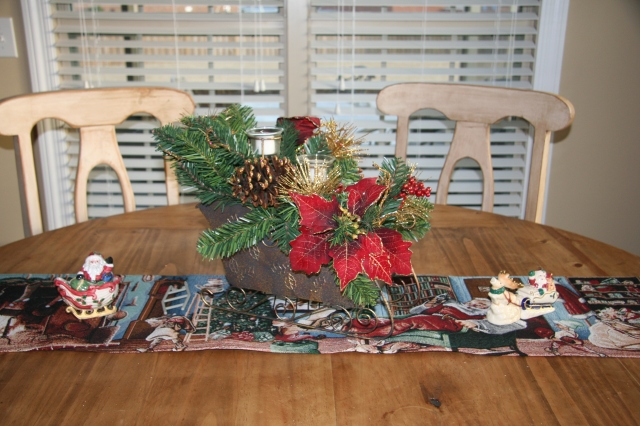 I bought this sleigh last year for our kitchen table.