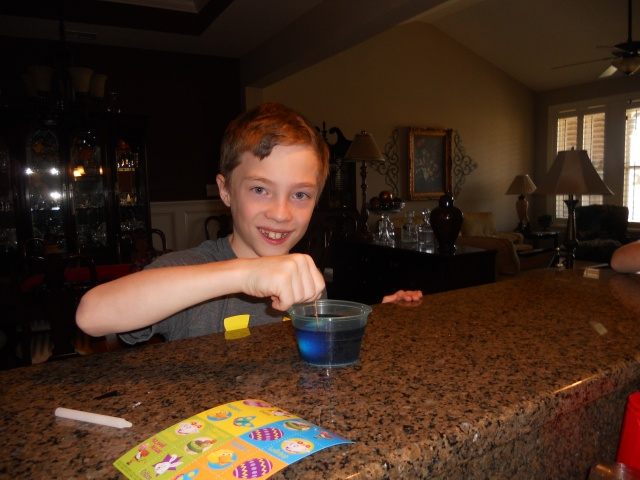 Joshua really went all in with the egg dying. His fingers were covered in dye by the time we finished.