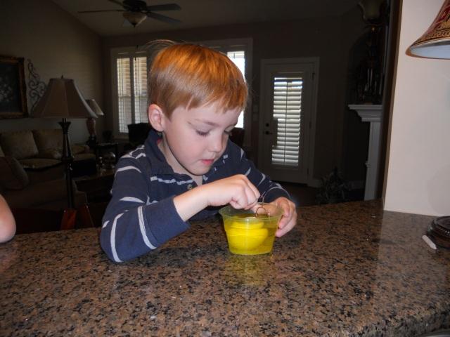 Jackson really enjoyed dying eggs.